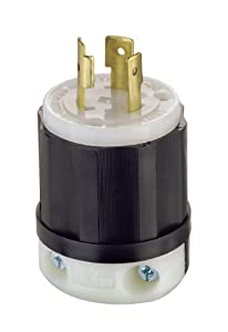 Leviton 2311 20 Amp, 125 Volt, NEMA L5-20P, 2P, 3W, Locking Plug, Industrial Grade, Grounding - Black-White