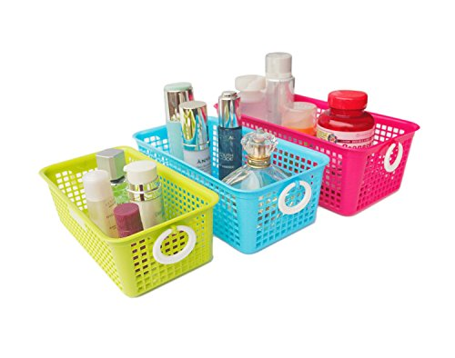 Honla Perforated Plastic Storage Baskets/Bins Organizer With Little  Handles Set Of 3
