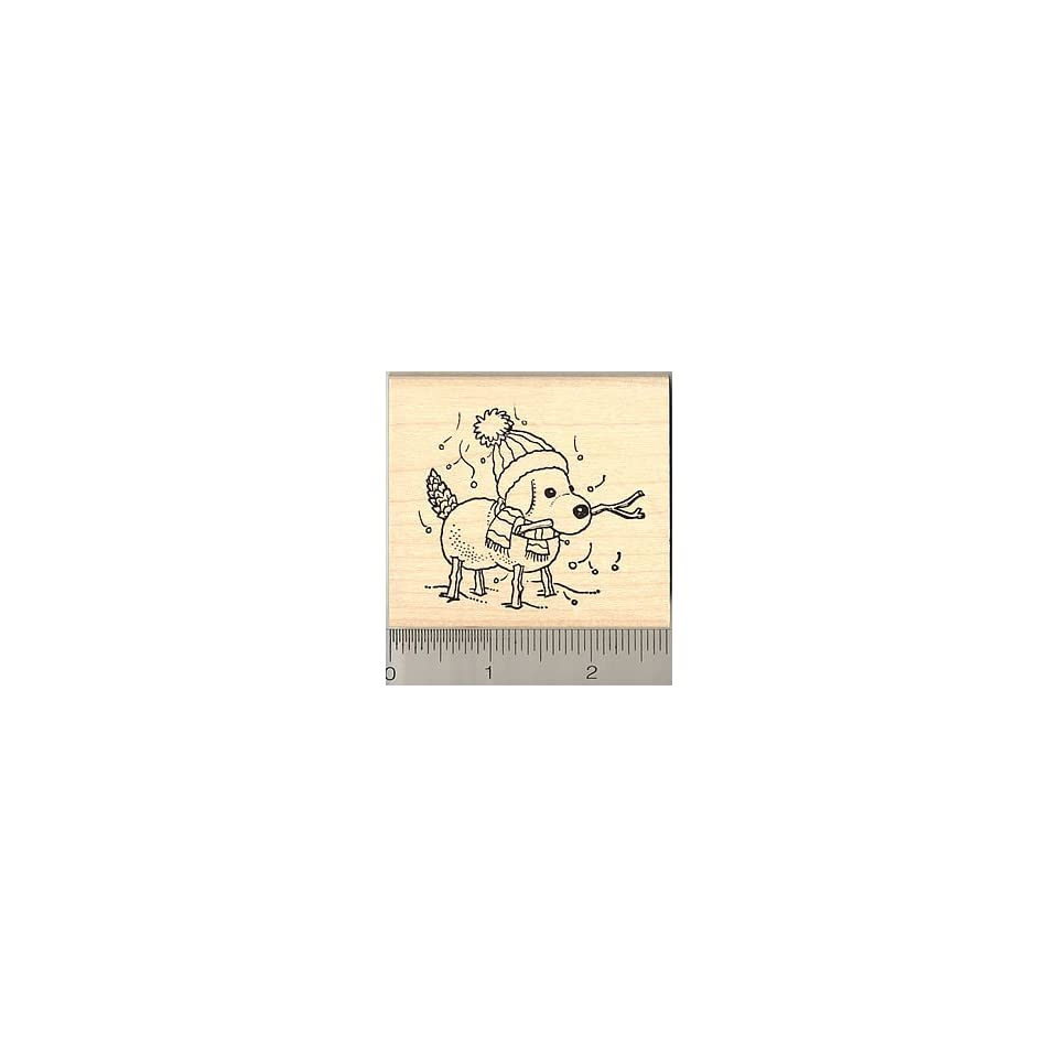 Snow Dog Rubber Stamp   Wood Mounted