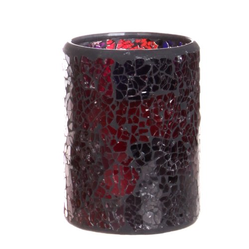 Dfl 3*4 Inch Wine Red Mosaic Glass With Flameless Led Candle With Timer,Work With 2 Aa Battery