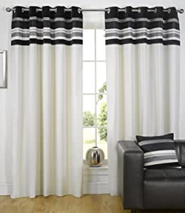 Silver Black Eyelet Curtains Kendal 66x90 Kitchen Home