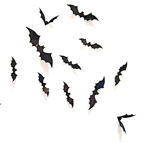 Oblique-Unique® 3D Schwarze Fledermäuse 12 Stück Dekoration Wandtattoo Halloween