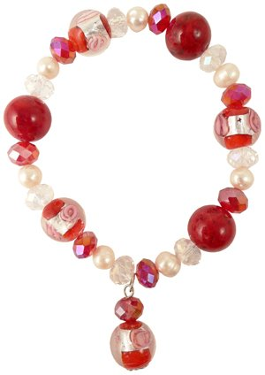 Murano Style Coral Glass Foil Stone Pearl and