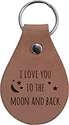 I Love You To The Moon And Back Leather Key Chain - Great Gift for Mothers's, Father's Day, Birthday,Valentines Day, Anniversary or Christmas Gift for Wife, Husband, Girlfriend, Boyfriend by CustomGiftsNow