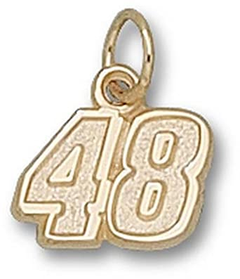 Jimmie Johnson Small Driver Number 48 3 8 Charm - 14KT Gold Jewelry by Logo Art