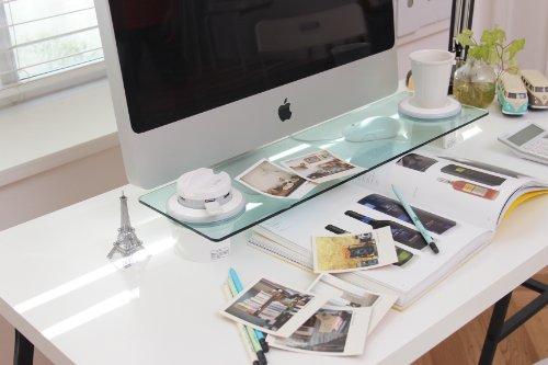 Cyanics i bridge desk organizer computer monitor stand - Glass desk organizer ...