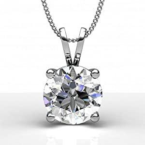 Diamond Impressions DI3002637 Certified 2.3 Ct. 14k White Gold Round Brilliant Diamond Solitaire Pendant H VS1