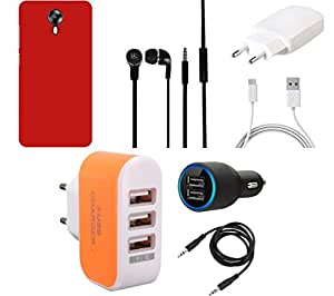 NIROSHA Cover Case Charger Headphone car for Micromax Canvas Juice 2 - Combo