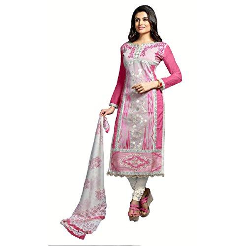 Aagaman Chanderi Cotton Unstitched Salwar Suit (TSMDESK1103_Pink)