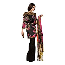 Pulp Mango Media's Sana Pakistani Designer Style Cotton Satin Printed and Embroidered, Multi-coloured Exclusive Dress Material. Look Famous this season!