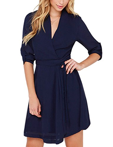 Leadingstar Women's Summer Casual V-neck Pure Color Long Sleeve Slim Chiffon Dresses