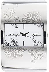 Ed Hardy Women's Icon IC-WH White Leather Quartz Watch with White Dial