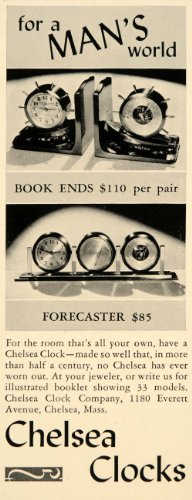 Image of 1939 Ad Chelsea Desk Clocks Forecaster Book Ends - Original Print Ad (B005DH7KUS)