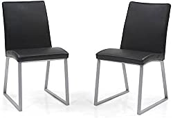 Urban Ladder Delphine Solid Wood Dining Chairs, Set of 2 (Black)