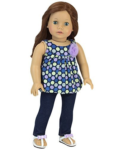 18-Inch-Doll-Tank-Top-Jeggings-Perfect-Fit-for-American-Girl-Dolls-More-Jean-Leggings-Pants-and-Purple-Blue-Polka-Dot-Tank-with-Flower-Embellishment
