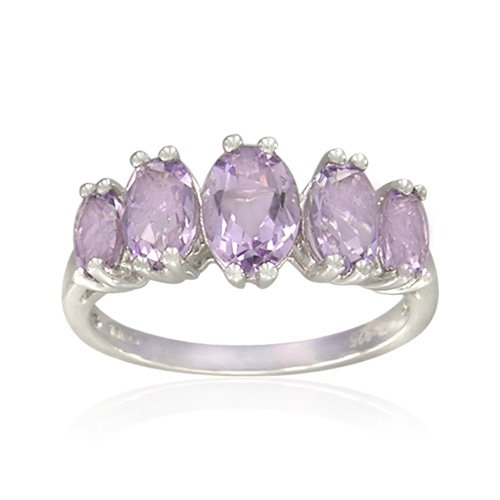 Sterling Silver Oval-Shaped Pink Amethyst Ring, Size 5