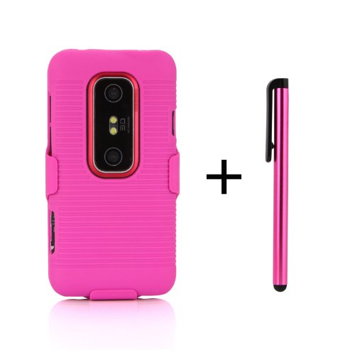 Hot Pink Shell Protective Case & Hot Pink Holster W/ Free Stylus for Sprint HTC EVO 3D / Virgin Mobile HTC EVO V 4G - Slim Hot Pink Shell Case + Hot Pink Holster --Kickstand Case