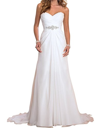 JYDress Women's Beading Waist Pleated Wedding Dress 2016 for Bride