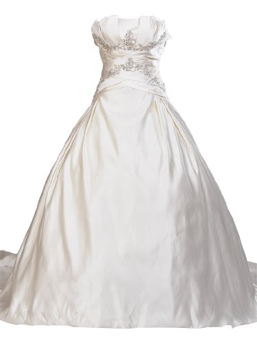 Artwedding Strapless Satin Ball Gown with Ruffle and Rhinestone Detailed Crisscross Bodice,Ivory,10