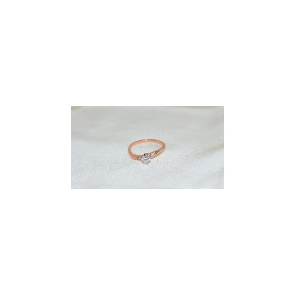 14k Rose Gold Plated Clear Cubic Zirconia Ring Size 8