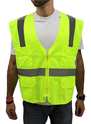 4-XL / Ansi Class 2 High Visibility Safety Vest: Solid Lime Front/ Mesh Back