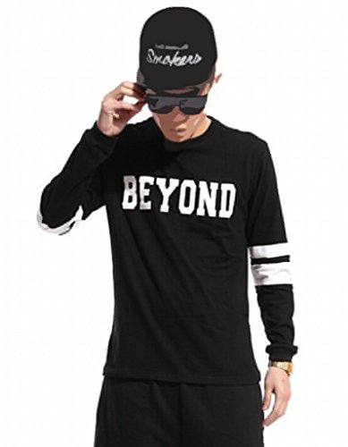 Easy Men Quality Printing Hip Hop Long-Sleeved Sweatshirts L Black