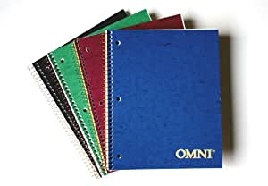 NorcomOmni 1 Subject Notebook, 9.5 x 6.5 Inch, 1 Notebook, Assorted Colors (77312-12)