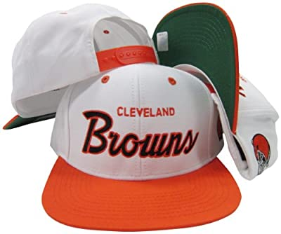 Cleveland Browns White/Brown Script Two Tone Adjustable Snapback Hat / Cap
