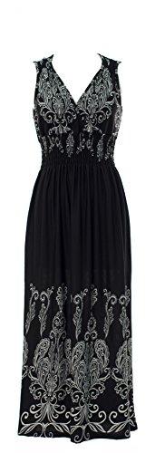 Plum Feathers Exotic Print Smocked Waist Maxi Dress Plus & Regular Sizes (2