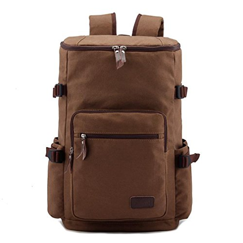 Men'S Big Canvas Casual All Cotton Travelling Outdoor Bag Backpacks Travel Bag Pocket Fit For 15' Laptop Coffe