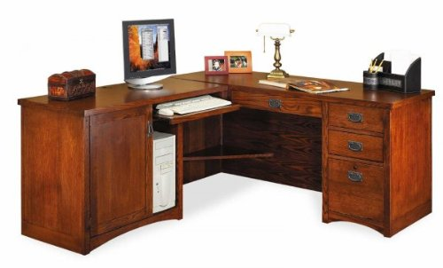 Buy Low Price Comfortable Mission Pasadena Desk with Left Computer Return (Oak) (64″W X 29″H X 25″D) (B003K3WWHI)