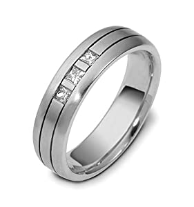 Mens 18K White Gold, Channel Princess 6MM Wedding Band, 1/5 cttw