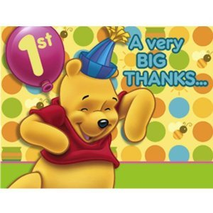 Pooh's 1st Birthday Thank You Notes 8ct