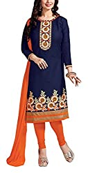 Sara Fashion Women's Georgette Unstitched Dress Material (Blue and Orange)