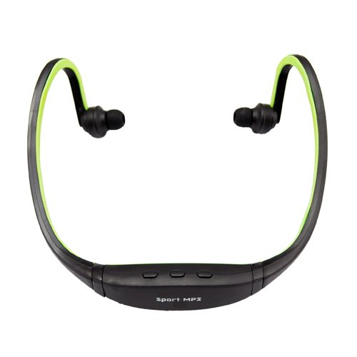 Stylish Sport Headphone Mp3 Player Support Max 8Gb Tf Card Black + Green