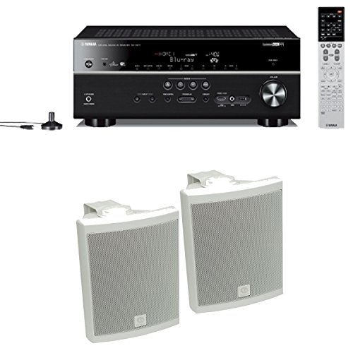 Yamaha Rx-V677 7.2-Channel Wi-Fi Network Av Receiver Plus A Pair Of Boston Acoustics Voyager 40 All-Weather Speakers In White