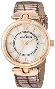 Anne Klein Women's 10/9836RGPK Leather Rosegold-Tone Brown Leather Strap Watch