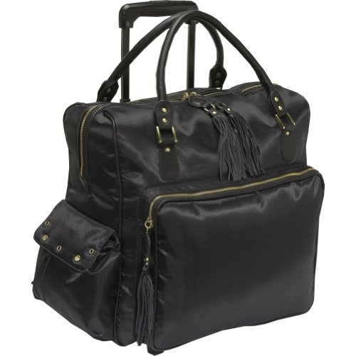 Gogo Voyage Luggage Margo Wheeled Weekender Bag, Black Nylon, One Size