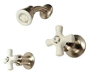 Two Handle Shower Faucet Oil Rubbed Bronze Finish Porcelain Handle Compres