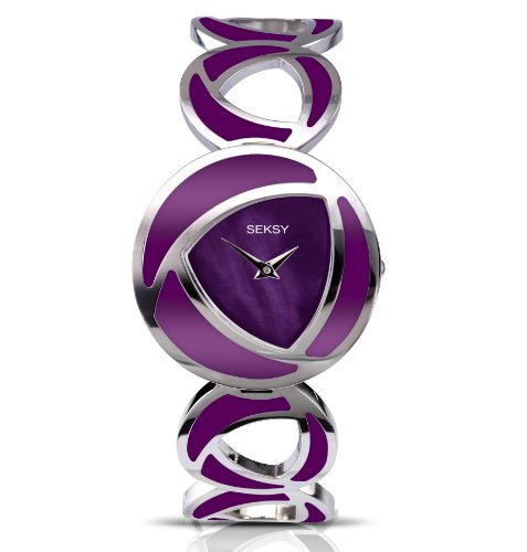 Seksy By Sekonda Women's Quartz Watch with Mother of Pearl Dial Analogue Display and Purple Stainless Steel Bracelet 4533.37