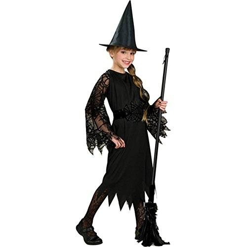 Halloween Concepts Child's Witch Costume with Flocked Velvet Spider Web Fabric