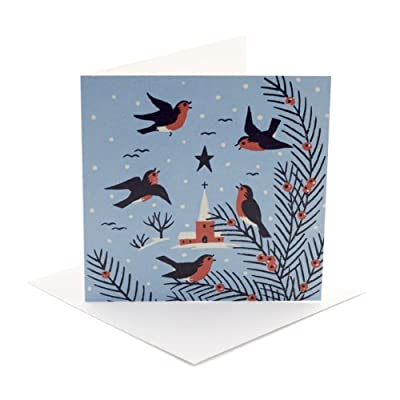V&A Christmas Cards - Robin and Church (Pack of 10, Square)||RNWIT||EVAEX