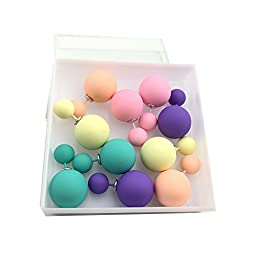 Yansanido 5 Pairs Colorful Classic Hot Selling Matte Pearls Ear Stud Earrings High Quality Double Ball Earring (Matte 5color)