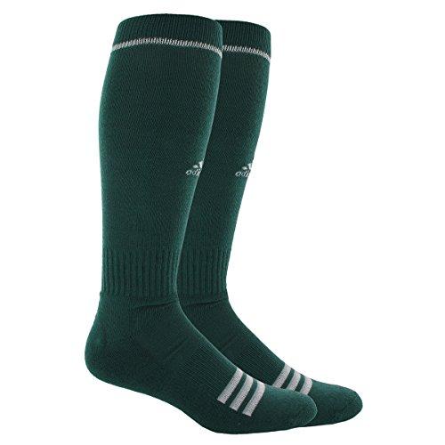 Adidas Unisex Rivalry Baseball 2-Pack Otc sock, Forest Green/White, Large