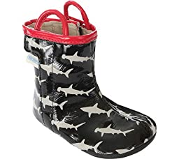 Robeez Shark Bite Rainboot Hard Sole Mini Shoe (Infant), Black, 12-18 Months M US
