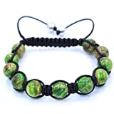 Pro Jewelry High Quality NATURAL Green stone beads Adjustable from 6.5″-11″Shamballa style Bracelet Picture