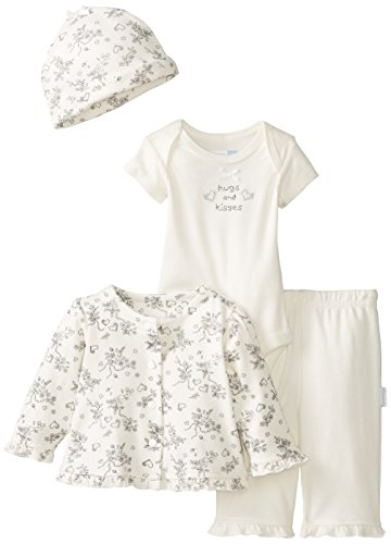 Vitamins Baby Baby-Girls Newborn Hearts And Toile 4 Piece Gift Set, Ivory, New Born