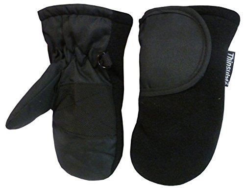 N'Ice Caps Baby Unisex Thinsulate and Waterproof Easy On Velcro Closing Mitten (1-2yrs, black solid)