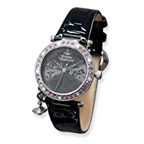 Ladies Vivienne Westwood Orb Crystal Bezel Black Strap Watch