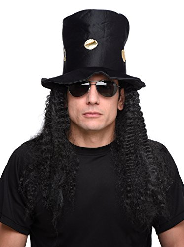 Men's Guitar Rock Star Hat and Black Long Curly Wig - One Size (Star Long Wavy Wig)